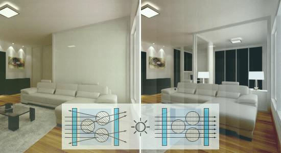 fotos mostrando o privacy glass ligado e desligado